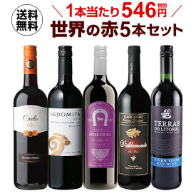 ワインセット 赤5本 世界のぶどう品種飲み比べ 超コスパ赤ワインセット 20弾【送料無料】[ワインセット][RSL] クール便不可