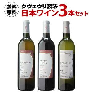 送料無料クヴェヴリ製法 日本ワイン 3本セット赤 白 オレンジ 甲州 国産 大和葡萄酒 長S