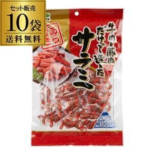 あらびきサラミ 80g×10袋 送料無料 1個あたり450円(税別) 豚肉 牛肉 サラミ おつまみ 珍味 カネタ 長S