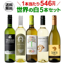 あす楽 ワインセット 白5本 世界のぶどう品種飲み比べ 超コスパ白ワインセット 17弾【送料無料】[ワインセット][RSL]クール便不可