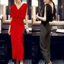 ワンピース ドレス パーティードレス Vネック ノースリーブ ハイウエスト ロング丈 フェミニン エレガント きれいめ 結婚式 大きいサイズ XL 2XL ブラック 黒 レッド 赤 20代 30代 40代 50代