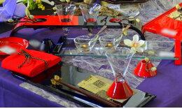 漆センターアーチ グラスセット 朱黒 木製 テーブルコーディネートに大活躍するテーブルウェア・おもてなしアイテム 日本製  贈答品 センターピース