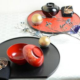 尺3半月両面膳 線筋・赤/石目・黒 折敷 ランチョンマット 木製 テーブルコーディネートに大活躍するテーブルウェア・おもてなしアイテム 日本製  贈答品