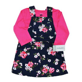carter's(カーターズ) ロンパース&ジャンバースカートセット 『ピンク/紺花柄スカート』 12M 子供服 ロンパース ジャンパースカート プリント長袖 安心の着心地 女の子 2点セット 上下セットアップ 出産祝い 赤ちゃん