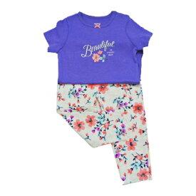 carter's(カーターズ) ロンパース半袖&ズボン 上下セット 『紫花/花柄パンツ』 12M 子供服 長ズボン プリント半袖 安心の着心地 女の子 2点セット 上下セットアップ 出産祝い 赤ちゃん