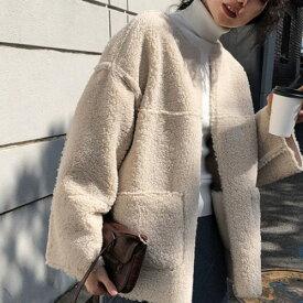 2019年新作 秋 冬 2color ボア ジャケット ノーカラー ショート丈 コート ボアがトレンドのノーカラージャケットコート 大人っぽく着れる一枚 今期一枚は持っておきたい定番商品