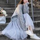 2019年新作 秋 ボリュームスリーブ ニット + チュールスカート セットアップ ニットとチュールスカートがセットとなる一着 上品で可愛らしいセットアップ 大人可愛い