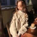 2019年新作 秋 冬 2color ポンポン ニット プルオーバー トップス 立体的なポンポン付きが可愛いセーター ざっく…