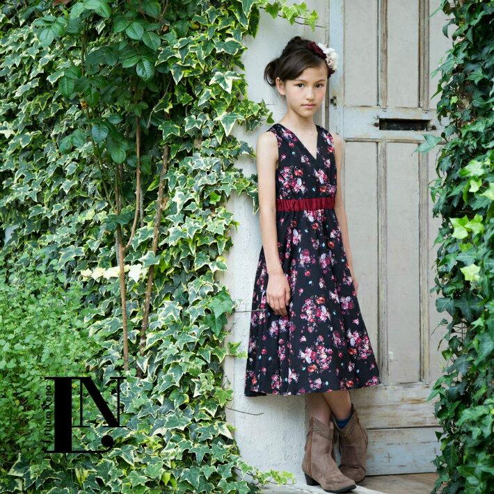 【ブラック】カシュクールネナワンピ 女の子ワンピース、オールシーズン使える上品ワンピ【L売り切れ】