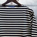 【 SAINT JAMES / セントジェームス 】 OUESSANT BORDER / ウエッソン ボーダー /ボーダーバスクシャツ / 長袖ボーダーTシャツ ◆NOIR…