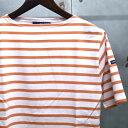【 SAINT JAMES / セントジェームス 】 PIRIAC / ピリアック ボーダー 半袖 Tシャツ ◆ NEIGE×TROPIQUE [ホワイト×オレンジ] 日本正…