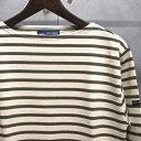 【 SAINT JAMES / セントジェームス 】 OUESSANT BORDER / ウエッソン ボーダー バスクシャツ 長袖ボーダーTシャツ ◆ ECRU×LICHEN […