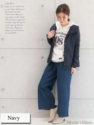 マウンテンパーカーウィンドブレーカーレディースナイロンパーカー山ガールファッションショート丈アウター春秋紺大きいサイズ
