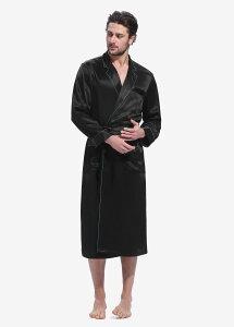 シルク バスローブ メンズ ローブ ガウン ナイト パジャマ ナイトウエア ルームウエア 風呂上がり 寝間着 S/M/L/2L/3L 22匁シルク 保湿効果 通気性 男性 北欧 オールシーズン 折襟 高品質シルク10