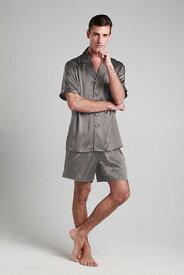 シルク パジャマ メンズ ナイトウエア ルームウエア 寝間着 XS/S/M/L/2L/3L 22匁シルク メンズ 男性 紳士服 北欧 高品質シルク100% 折り襟 美肌効果・保湿効果 快眠 プレゼント ギフト 送料無料