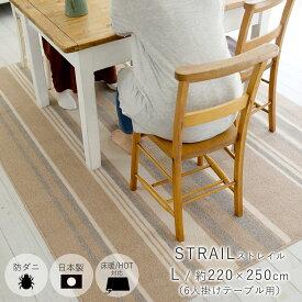 ストレイル Strail/約220×250cm ダイニングラグマット スミノエ ベージュ・ブラウン