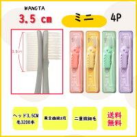 [予約販売]ワンタWANGTA歯ブラシ4本大きい歯ブラシカラーピンクイエローミントパープル韓国歯ブラシホルダー付き
