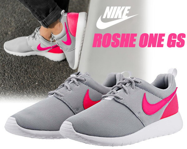【ナイキ スニーカー ローシワン レディース】NIKE ROSHE ONE GS w.gry/h.pink-c.gry-wht【ランニングシューズ】