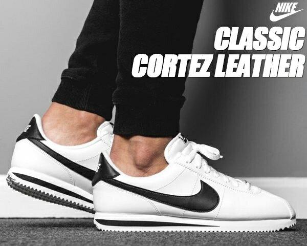 NIKE CLASSIC CORTEZ LEATHER white/black【ナイキ コルテッツ レザー メンズ スニーカー ホワイト ブラック】