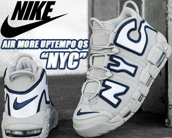 NIKE AIR MORE UPTEMPO NYC QS wolf grey/white-midnight navy【ナイキ エア モアアップテンポ NYC NEW YORK モアテン スニーカー クイックストライク】
