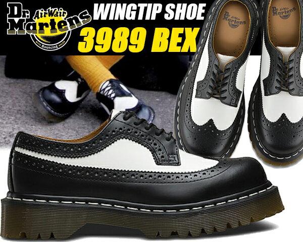 Dr.Martens 3989 BROGUE SHOE BEX 34 F black&white 【ドクターマーチン Bex 3989ブローグ ブラック ホワイト ツートンカラー ウィングチップ ブローキング 厚底 ホワイトウェルトステッチ カジュアルシューズ 5 Eye 靴 レザー】