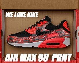 "NIKE AIR MAX 90 PRNT ""WE LOVE NIKE"" black/bright crimson-white 【ナイキ エアマックス 90 プリント スニーカー メンズ レディース シューズボックス we like nike】"