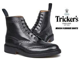 【トリッカーズ カントリーブーツ】TRICKER'S M5634 9 BROGUE BOOTS STOW BLACK ストウ ダイナイトソール ブローキング レースアップ ブーツ メンズ ブラック