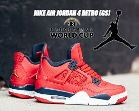 NIKE AIR JORDAN 4 RETRO(GS) FIBA gym red/obsidian-white 408452-617 ナイキ エアジョーダン 4 ガールズ スニーカー AJIV ジムレッド レディース ウィメンズ