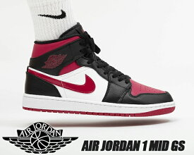 NIKE AIR JORDAN 1 MID (GS) BRED TOE black/noble red-white 554725-066 ナイキ エアジョーダン 1 ミッド レディース スニーカー AJ1 ブラック レッド