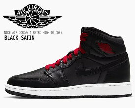 NIKE AIR JORDAN 1 HI OG GS black/gym red-black-white 575441-060 ナイキ エアジョーダン 1 ハイ OG ガールズ レディース スニーカー キッズ AJ1 HIGH BLACK SATIN