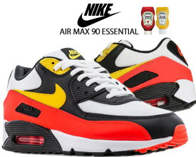 NIKE AIR MAX 90 ESSENTIAL white/chrome yellow-black aj1285-109 ナイキ エアマックス 90 エッセンシャル スニーカー AM90 ブラック イエロー レッド Mustard and Ketchup
