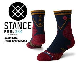 【スタンスソックス】STANCE FLOOR GENERAL 360 NAVY m359a19flo-nvy 靴下 ネイビー レッド メンズ stancehoop BASKETBALL バスケットボール ソックス FEEL360 クォーター
