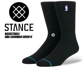 【スタンスソックス】STANCE NBA Logoman Crew II BLACK m558a18log-blk 靴下 黒 メンズ NBA stancehoop BASKETBALL ハイソックス