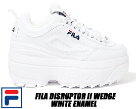 FILA DISRUPTOR II WEDGE white/blue/red 5fm00814-125 フィラ ディスラプター 2 ウェッジ 厚底 スニーカー パテント ホワイト レディース ウィメンズ