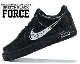 NIKE AIR FORCE 1 LV8 UTILITY SKETCH black/white-black cw7581-001 ナイキ エアフォース 1 エレベイト ユーティリティ スケッチ ブラック スニーカー AF1