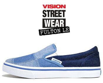 【ヴィジョンフルトンLE】VISIONFULTONLENAVYDENIMvsw-8353-316スリッポンスニーカースケートビジョンストリートウェアネイビーデニムパッチワーク