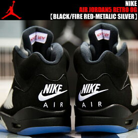 NIKE AIR JORDAN 5 RETRO OG BLACK/FIRE RED-METALIC SLIVER ナイキ エアジョーダン 5 メンズサイズ OG エア ジョーダン スニーカー AJ