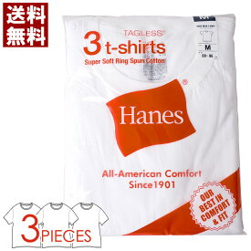 Hanes ヘインズ メンズ 半袖 tシャツ 3Pパック 3枚組 インナー 白 無地 クルーネック カットソー ブランド 送料無料 通販M3【2A0334】