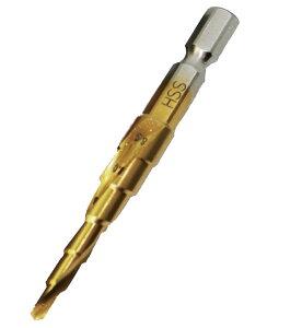 六角軸タップ下穴用ドリル 回転専用 6サイズ対応 下穴 タケノコドリル ステップドリル 長寿命 チタンコーティング ステップビット 薄鉄板 アルミニウム プラスチック HSS鋼 ライト精機 六角