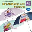 【Disney】2コマ透明 キャラクター アンブレラ キッズ 子供用 45cm 傘 ディズニーカーズ・アナと雪の女王・小さなプリ…