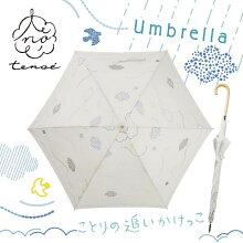 【tenoe(テノエ)】レディースナチュラルアンブレラ雨傘58cm【RCP】【90200-05】(自然オシャレ北欧シンプルミモザ葉っぱ小鳥小花傘かさ雨具おしゃれ通勤紫外線スリム)