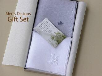 """Randuyoko"" initials embroidered linen handkerchief set antique & Crown/Christmas / linen 100%"