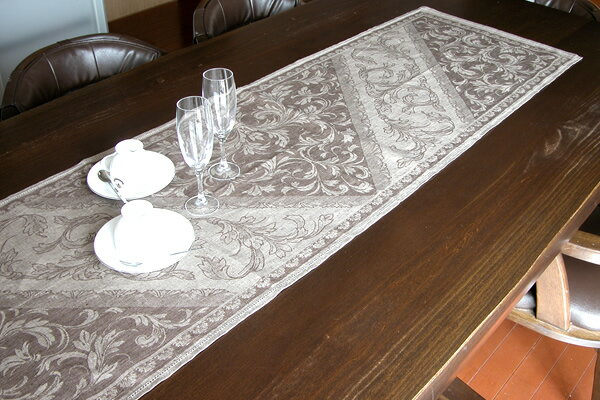100% Of Linen Table Runner Brown Hemp