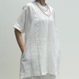 The summer when linen clam Lee tunic hemp white short sleeves of superior grade refreshing fashion is cool