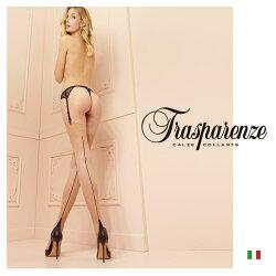 【Trasparenze(トラスパレンツェ)】PennacCalzaインポート柄物ガーターシアータイツ20デニール爪先フラット補強バックライン入りガーターシアータイツ