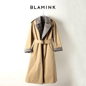 BLAMINK ブラミンク コットンシルク ウールチェック リバーシブルコート{7925-299-0172-BEIGE-AIA}