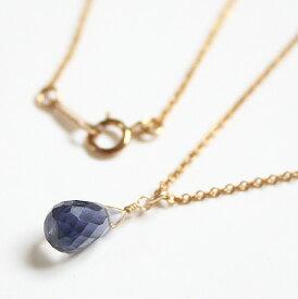 アイオライトの一粒ネックレス(ブリオレットカット・M)14KGF/天然石アクセサリー・ゴールドフィルドジュエリー