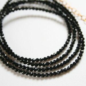 極小ブラックスピネルのネックレス(セミロング)14KGF/天然石アクセサリー・ゴールドフィルドジュエリー・ハンドメイド