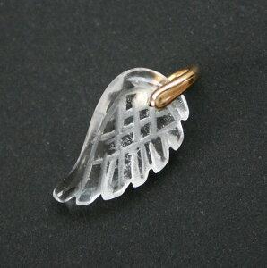 クリスタルのペンダントトップ・チャーム(天使の羽)天然石アクセサリー・ゴールドバチカン