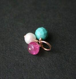 【再入荷】ルビー・ターコイズ・パール(真珠)の3粒チャーム・ペンダントトップ/14KGF/天然石アクセサリー